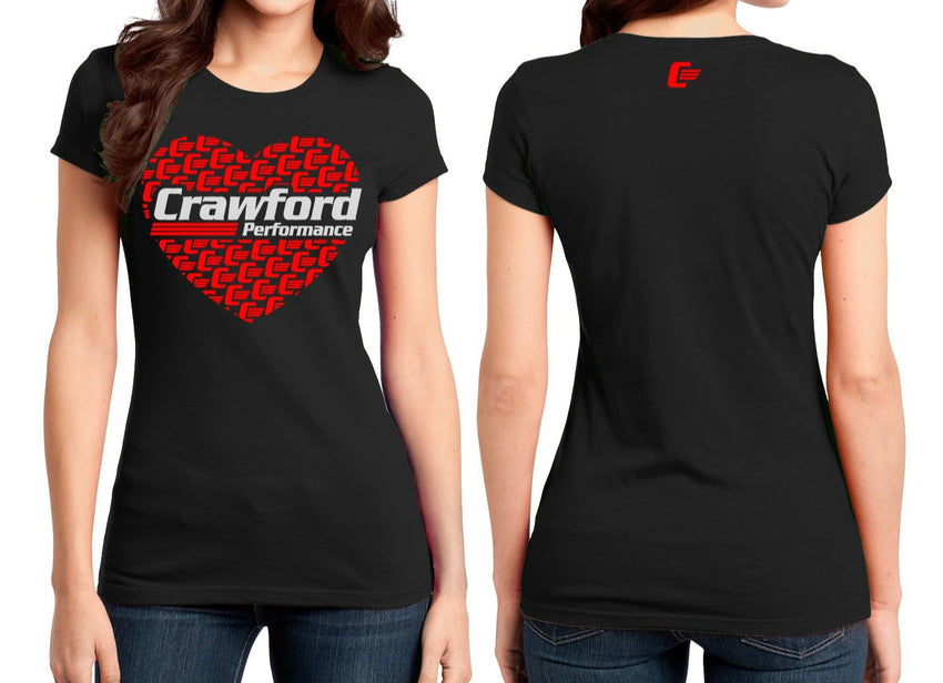 Crawford Performance Ladies Heart T-Shirt - Black
