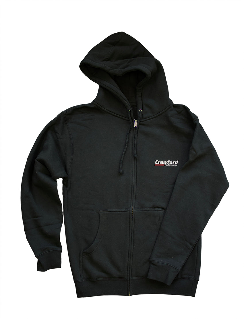Sweatshirt: Crawford Performance Logo - Black Zip Up