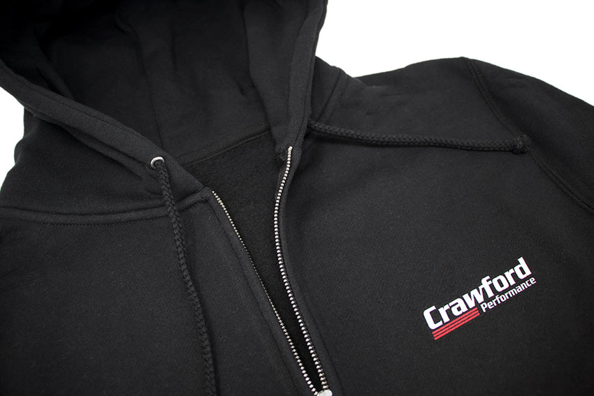 Sweatshirt: Crawford Performance Logo  - Close Up Photo