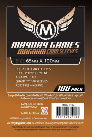 """7 Wonders"" Card Sleeves - Magnum Ultra-Fit  (65x100mm) - Standard Protection (100 sleeves per pack) - Mayday Games - 1"