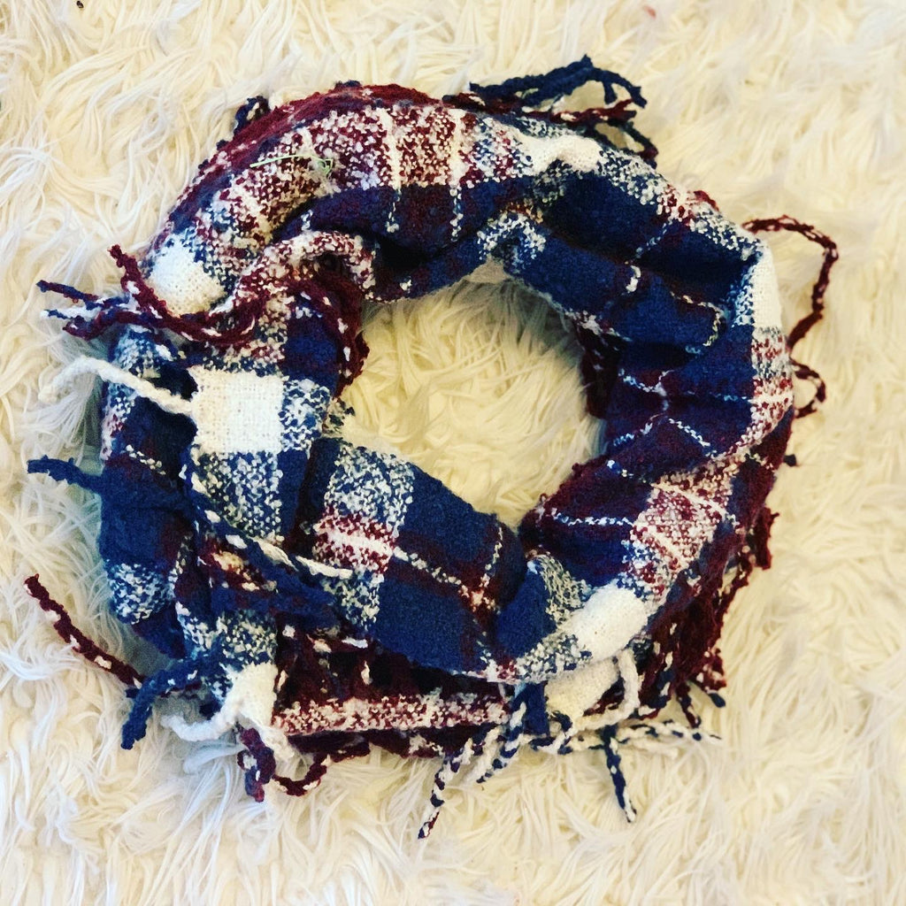 Fringe Winter Plaid Knit Scarf | Apparel