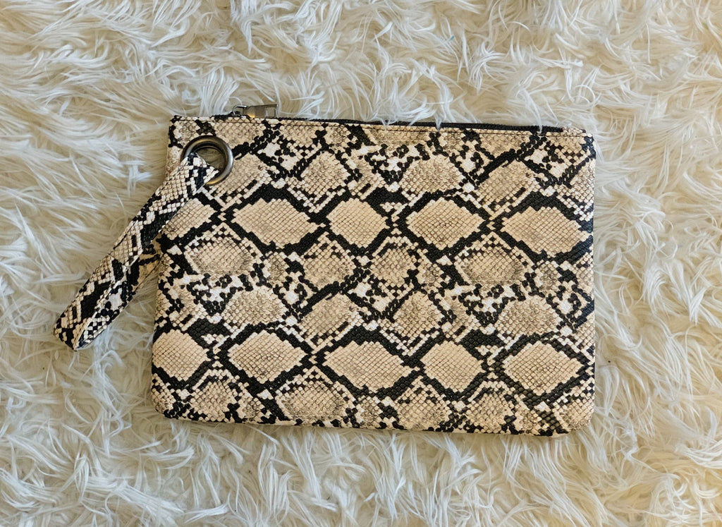 Image of large snakeskin clutch