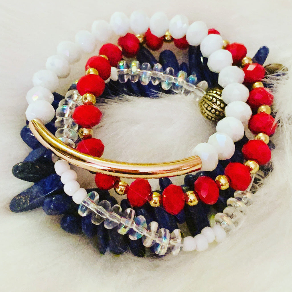 Red, White, Blue Multi Strand Bracelet | Bracelet