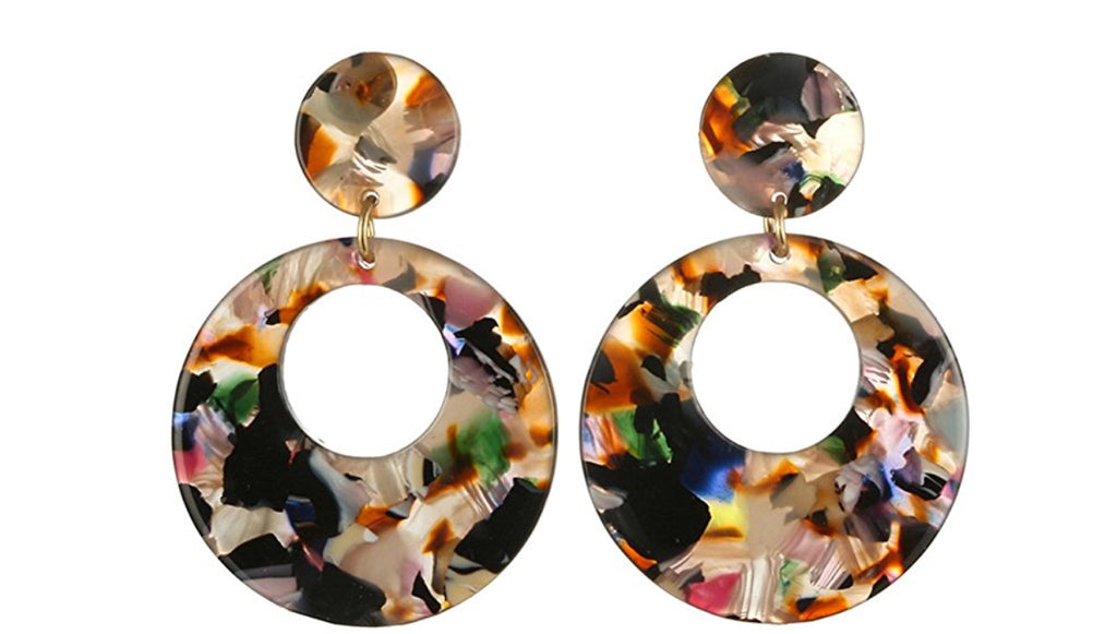 """Dani"" Multi Resin Cut Out Drop Earrings 