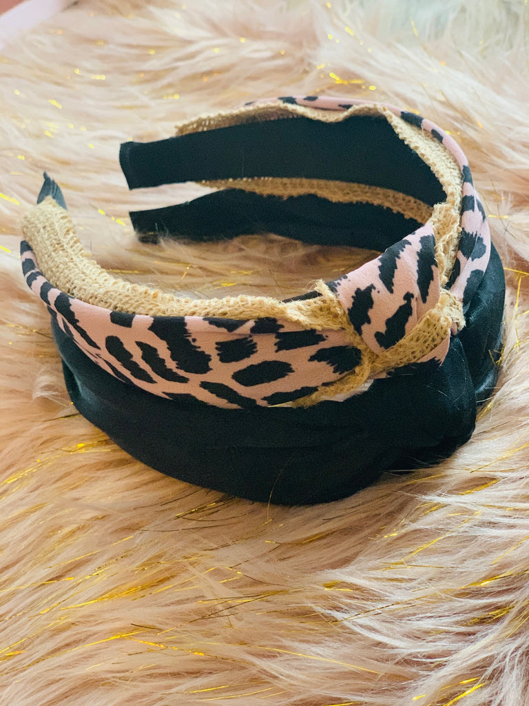 Black Shimmer Fabric Knotted Headband