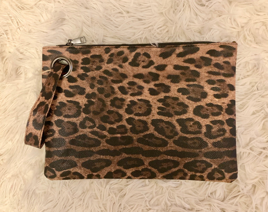 image of brown faux leather clutch