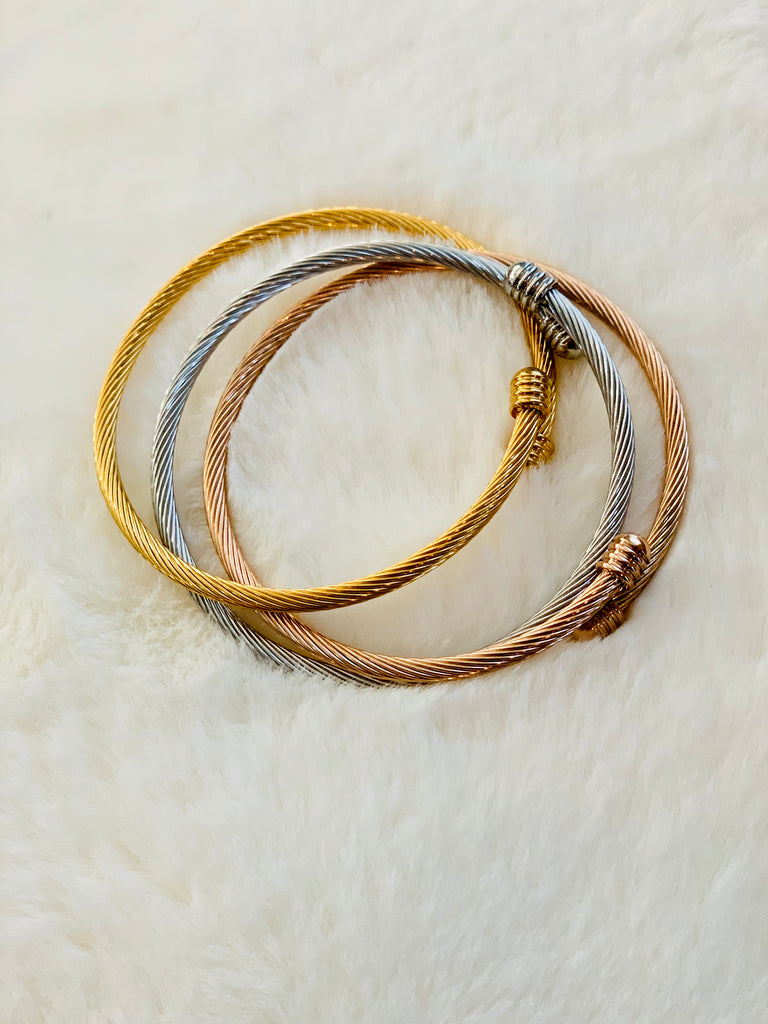 Gold, Rose Gold & Silver Bangle Trio | Bracelets