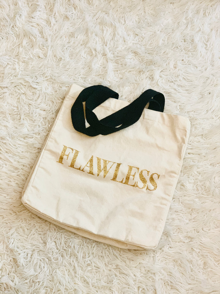 Image of tote bag with words Flawless on front