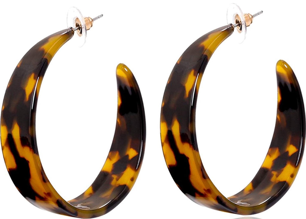 """Kyra"" Tortoise Wide Hoop Earrings"