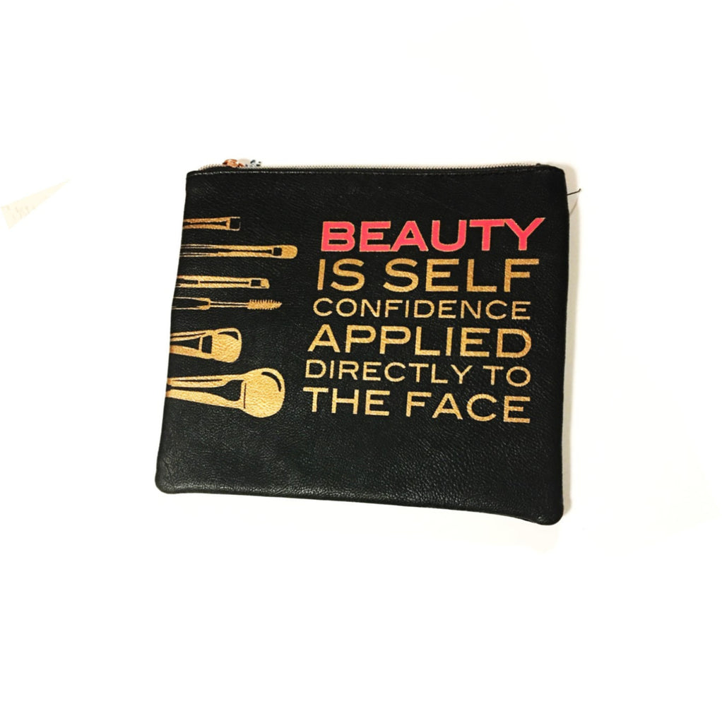 image of self confidence applied directly to the face cosmetic pouch