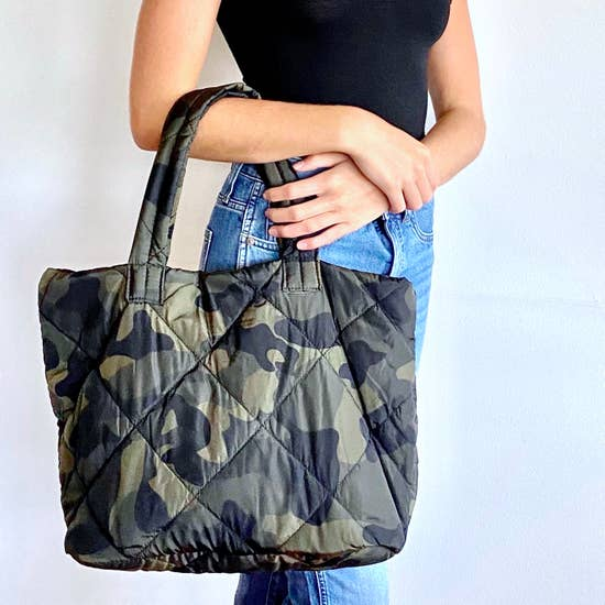 Green Quilted Camo Everyday Tote