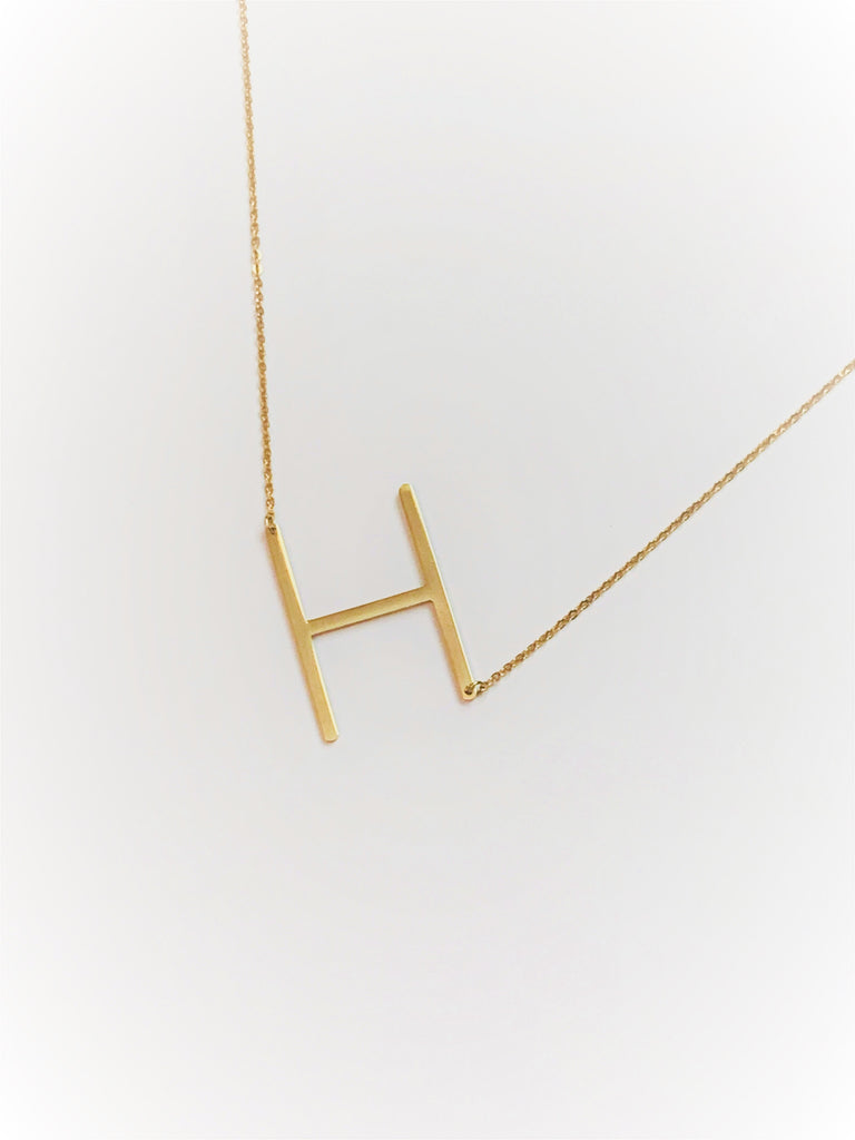 Large Sideways Monogram Pendant Necklace