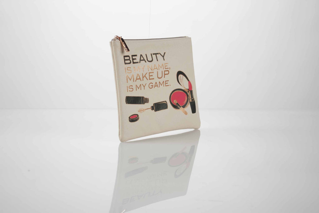 image of beauty is my name make up is my game cream cosmetic pouch