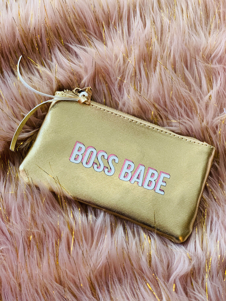 """Boss Babe"" Vegan Leather Pouch"