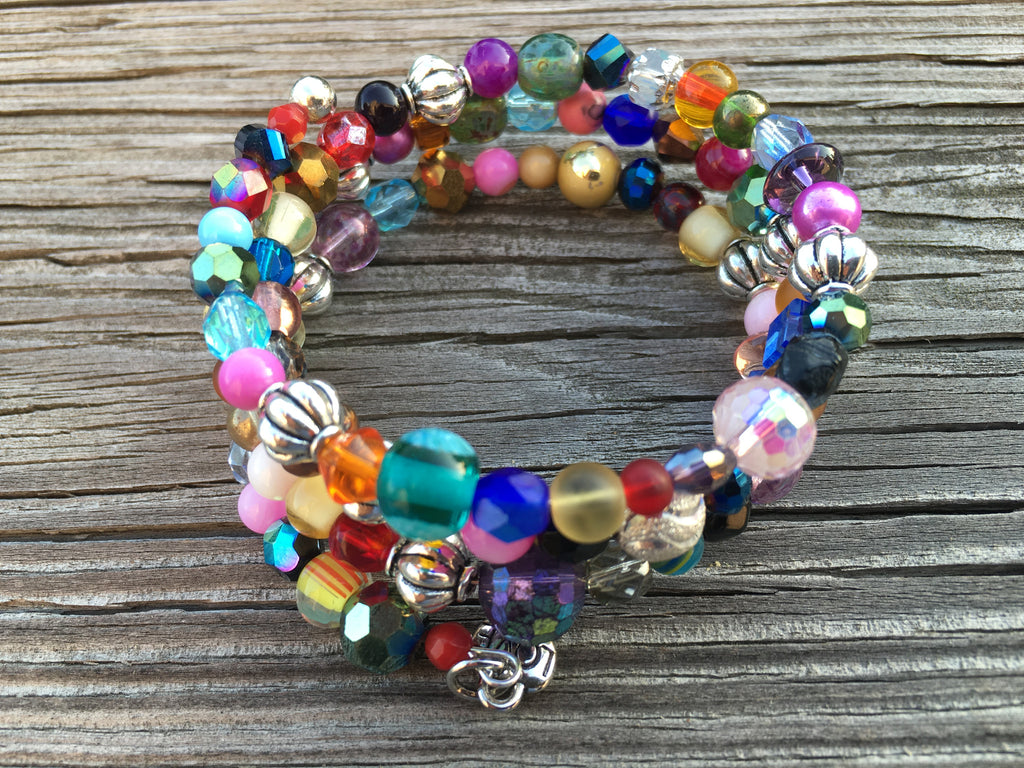"""Cali"" Multi-Color Glass Beaded Bracelet"