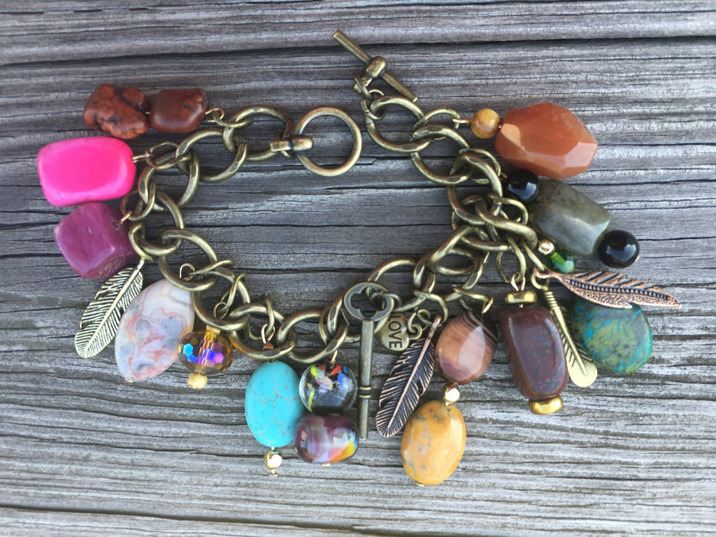 """Rock Candy"" Antiqued Charm Bracelet"
