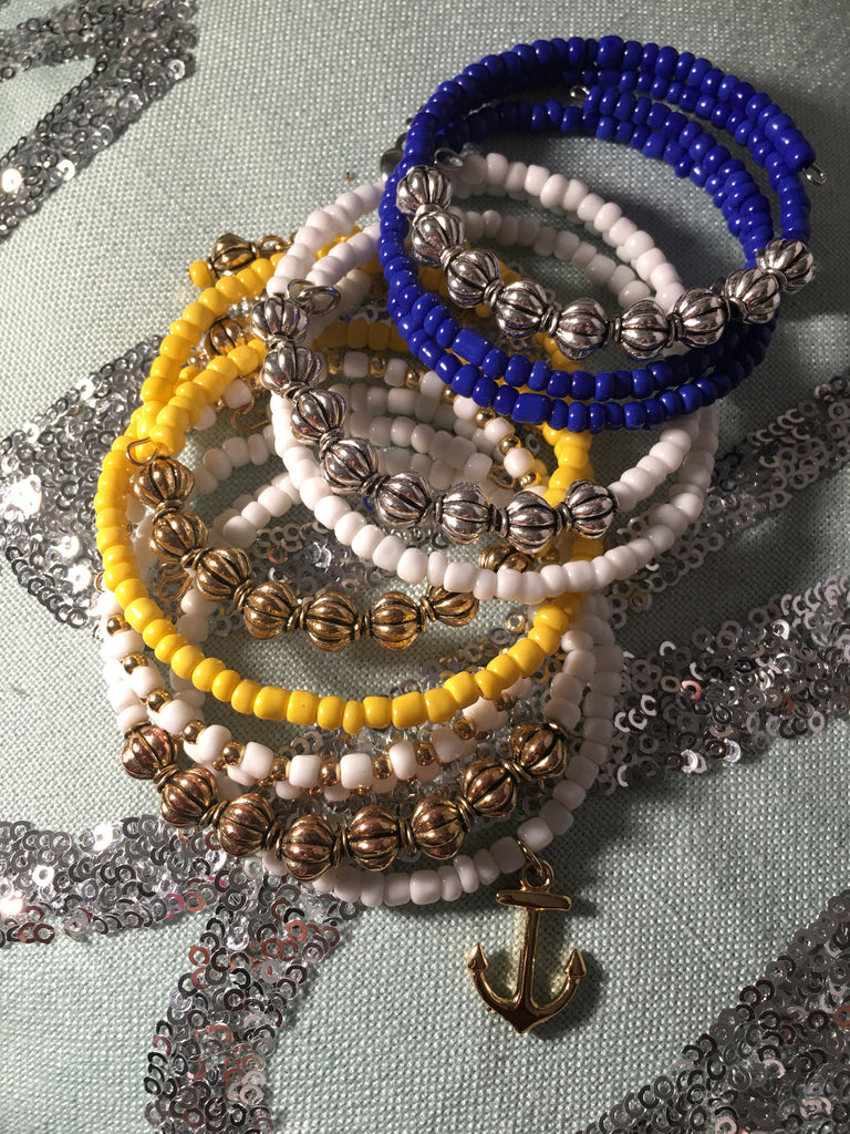 """Katy"" Seed Bead & Metal Drum Bracelet Set"
