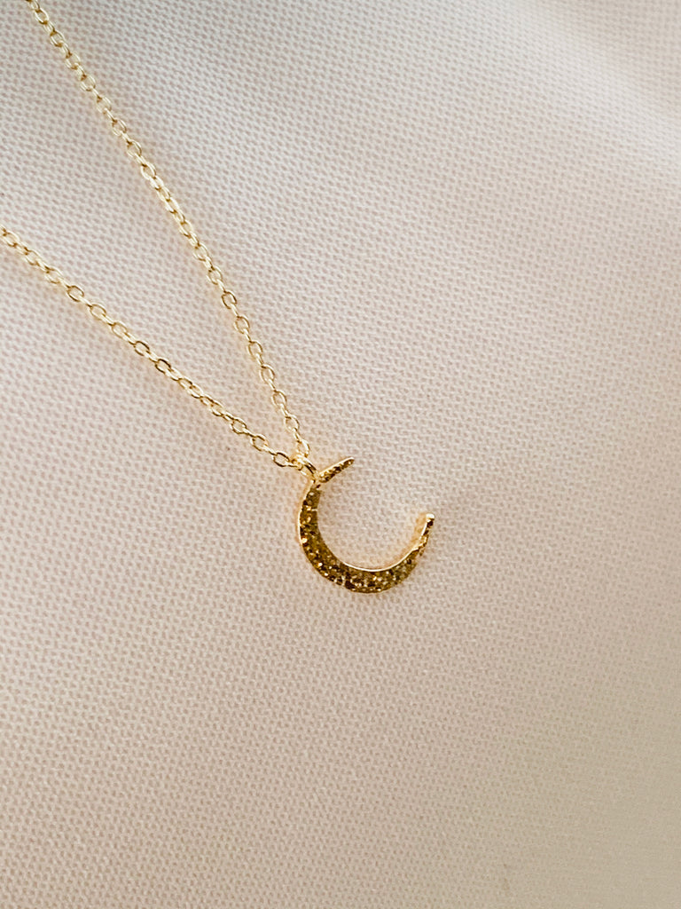 """Tory"" Gold Crescent Shaped Pendant Necklace"