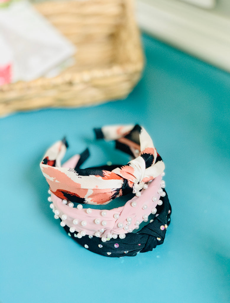 Dusty Mauve Fabric Headband with Pearls