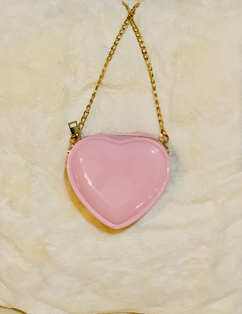 Pink Heart Shaped Crossbody Bag
