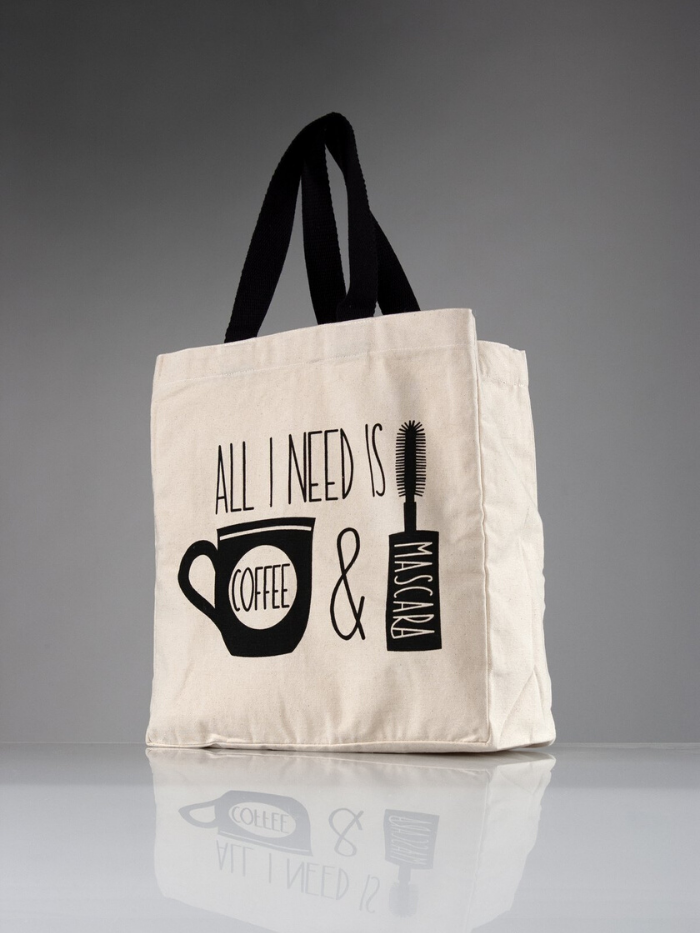 """All I Need Is Coffee & Mascara"" Canvas Tote"