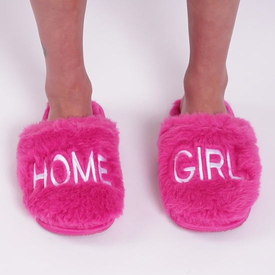 "NEW! ""Home Girl"" Soft & Furry Slippers"
