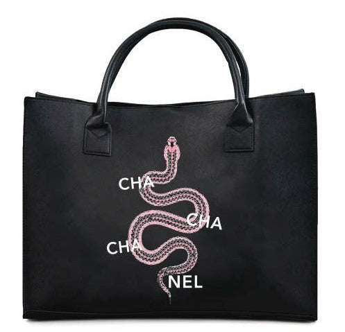 """Cha Cha Cha  Nel "" Modern Vegan Leather Tote"