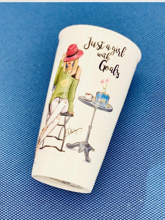 "Rongrong ""Girl w/Goals"" Ceramic Travel Cup"