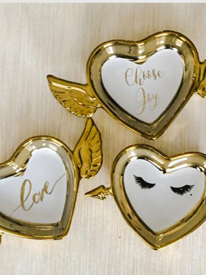 Gold Heart Shaped Trinket Trays