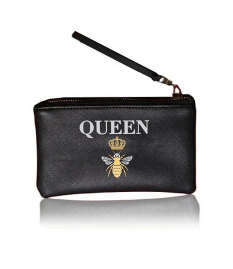 "Vegan Leather ""Queen B"" Mini wristlet pouch by LA Trading Co"