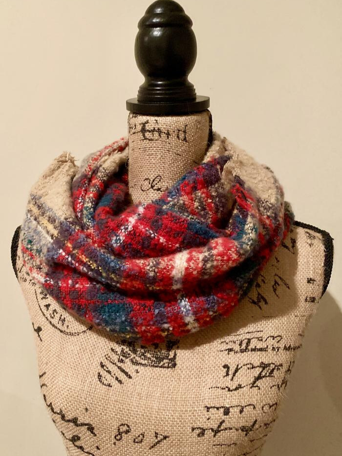 Tartan Plaid Knit Infinity Loop Scarf