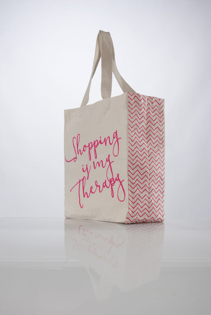 """Shopping Is My Therapy"" Canvas Tote"