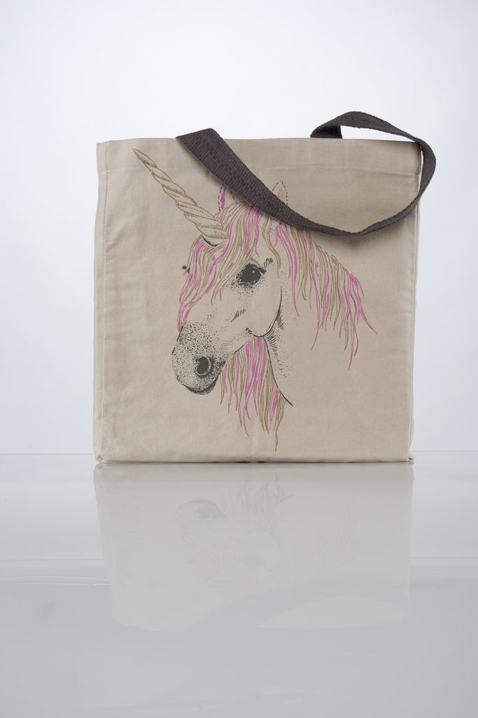 image of all unicorn large canvas tote