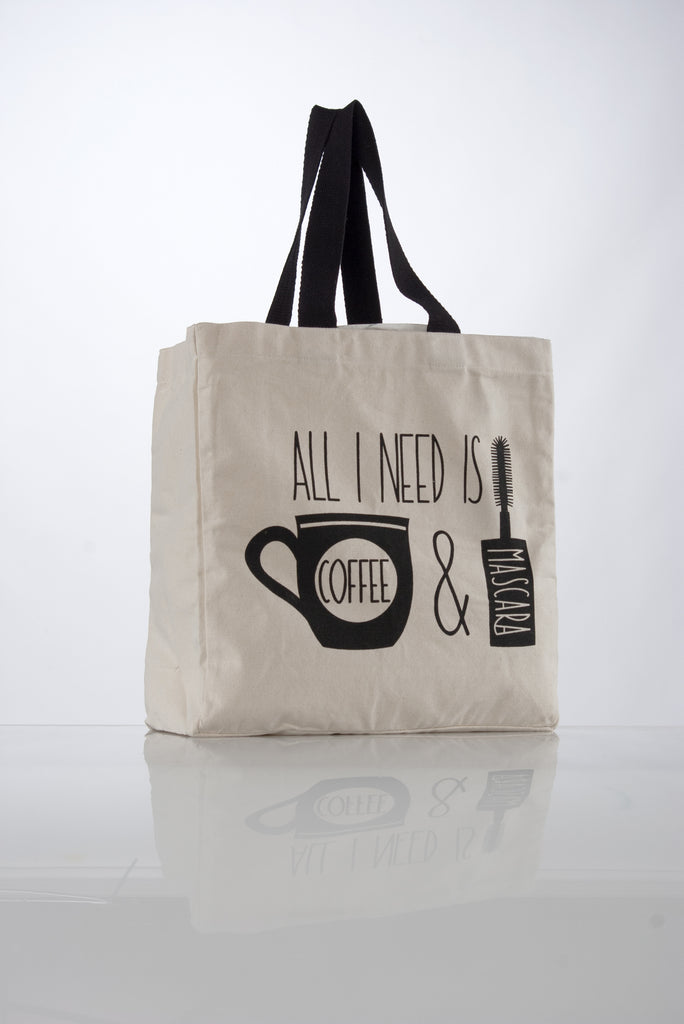 image of all I need is coffee and mascara large canvas tote