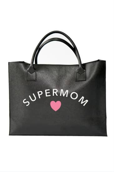 """Super Mom"" Vegan Leather Modern Tote"
