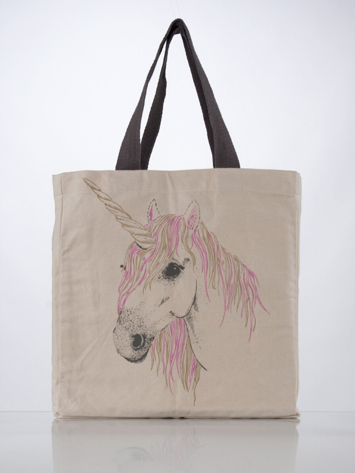 """Everyone Loves A Unicorn"" Canvas Tote"