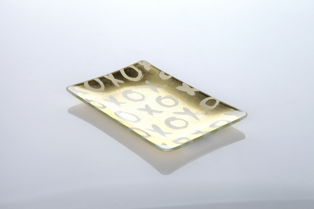 """XOXO"" Glass Trinket Tray 