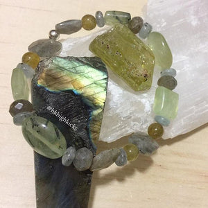 ::PREHENITE, GREEN APATITE, AQUAMARINE, LABRADORITE:: Bracelet - HK HIGH KICKS