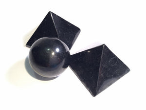 ::SHUNGITE:: Gemstone Sphere or Pyramid - HK HIGH KICKS