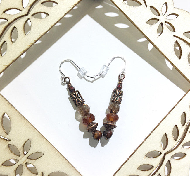 ::GARNET, BROWN TOURMALINE & RED TIGER'S EYE:: Earrings - HK HIGH KICKS