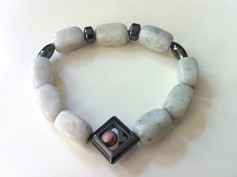 ::AMAZONITE, HEMATITE, RHODONITE:: Bracelet - HK HIGH KICKS