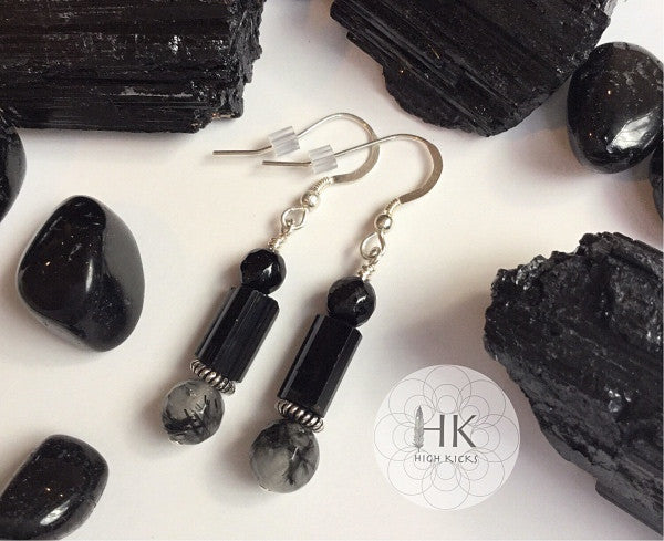 ::BLACK TOURMALINE & TOURMALINATED QUARTZ:: Earrings