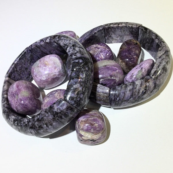 Charoite gemstone and bracelet