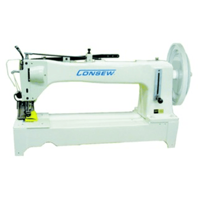 Consew Industrial Machines Consew Model 733R-25 Extra Heavy Duty, Long Arm, Single Needle, Drop Feed, Alternating, Presser Feet, Lockstich Machine Table Stand and Motor