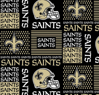 Sewingmachineoutlet Fabrics NFL Cotton Broadcloth New Orleans Saints Patchwork Black and Gold