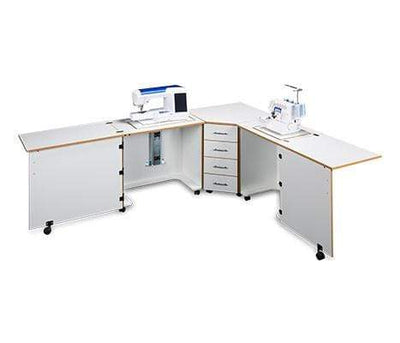 Sylvia Cabinets and Tables Sylvia Design 1810 Complete Combo Dual Sewing Machine And Serger Air Lift Cabinet