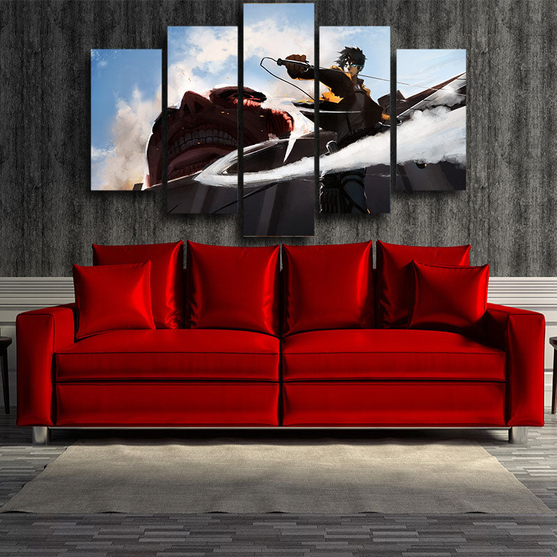 ATTACK ON TITAN - EREN AND COLOSSAL TITAN WALL ATTACK 5 PANEL WALL CANVAS - 3D PRINTED CANVAS