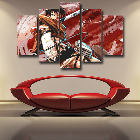 ATTACK ON TITAN - CAPTAIN LEVI 5 PANEL WALL CANVAS - 3D PRINTED CANVAS