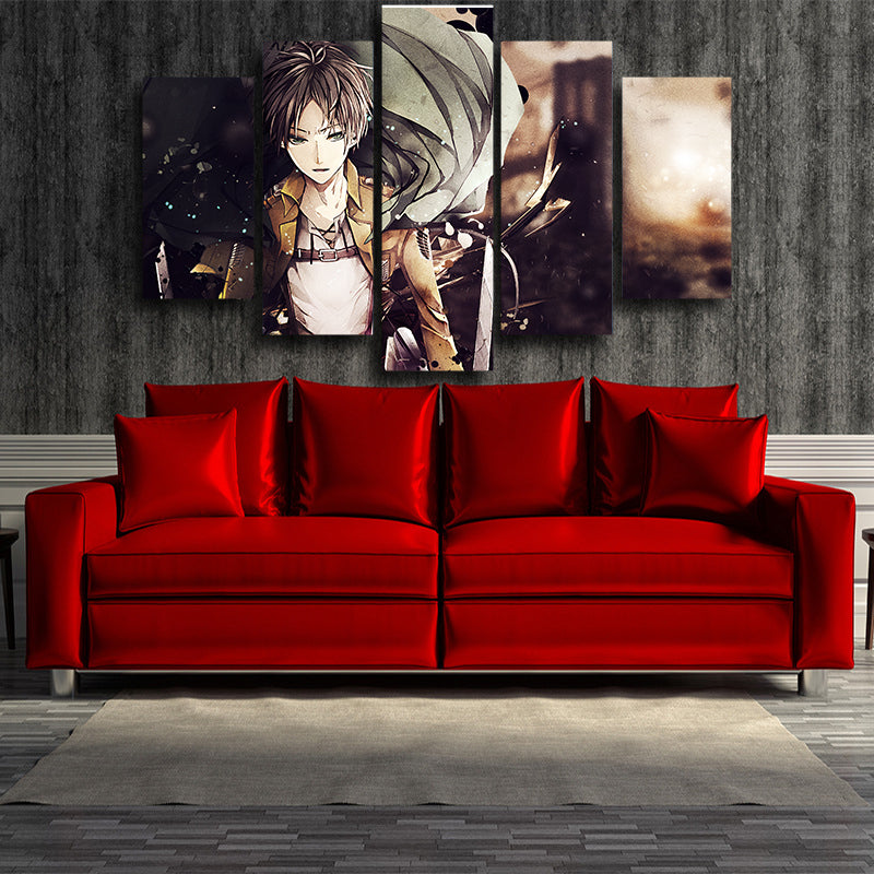 ATTACK ON TITAN - EREN 5 PANEL CANVAS - 3D PRINTED CANVAS