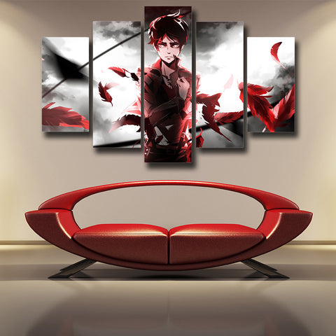 ATTACK ON TITAN - EREN YEAGER 5 PANEL WALL CANVAS - 3D PRINTED CANVAS